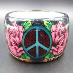 Vintage Cute Peace & Hope Hippie Plastic Bracelet